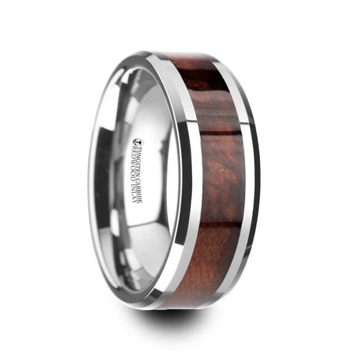 AUBURN-Red Wood Inlaid Tungsten Carbide Ring with Bevels – 8mm