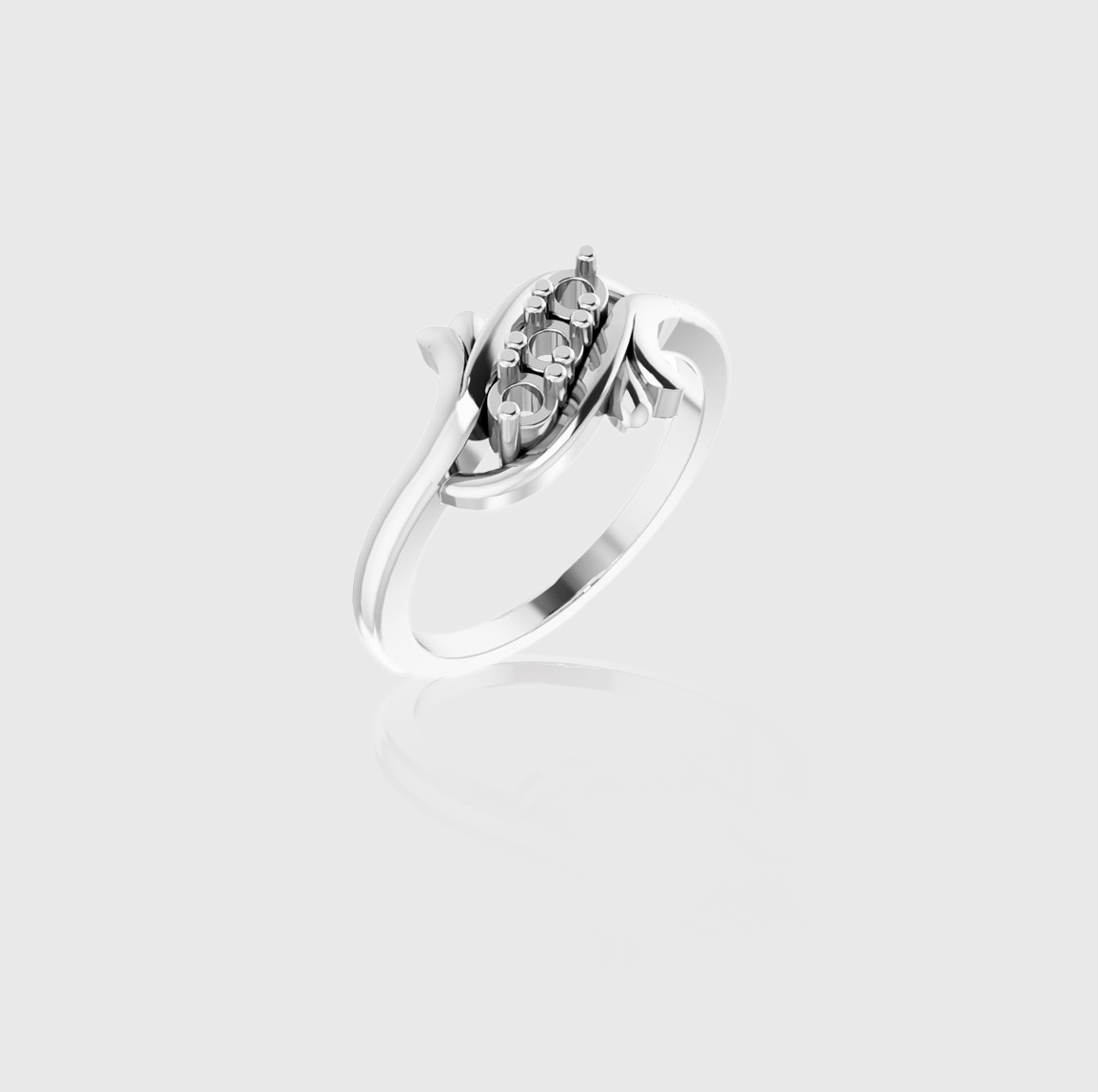 Freeform Flow Three-Stone Family Ring