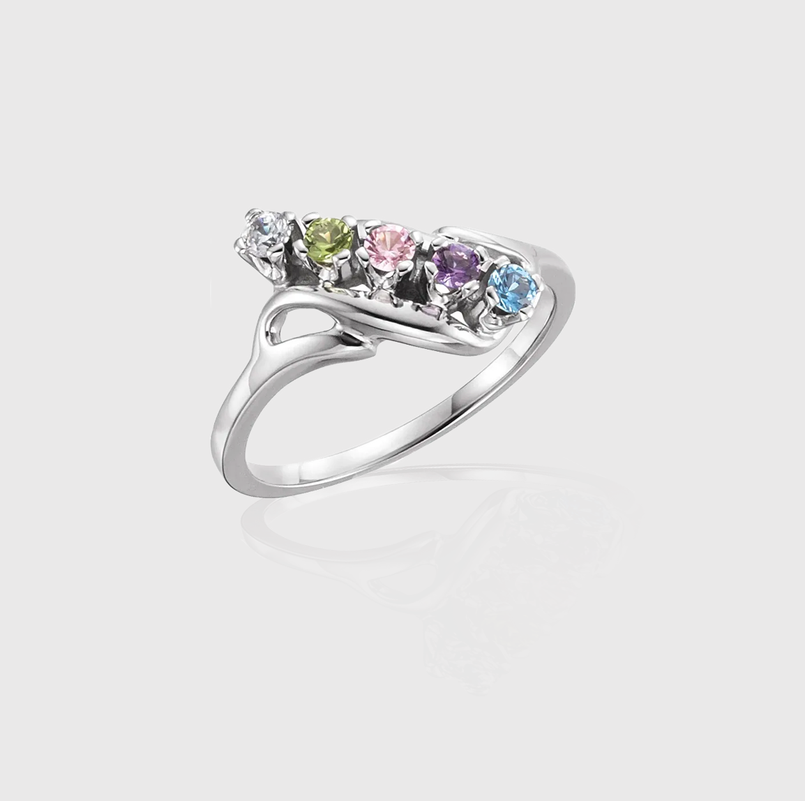 Freeform Flow Five-Stone Family Ring