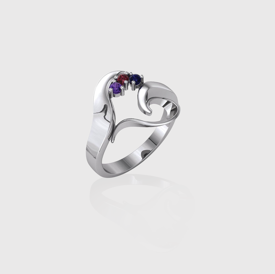 Whole Heart Three-Stone Family Ring