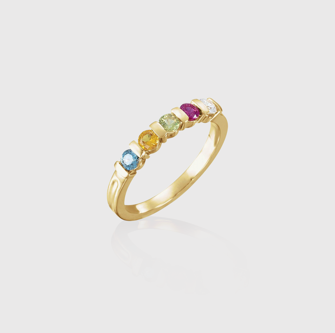 In the Band Stacks Five-Stone Stackable Family Ring