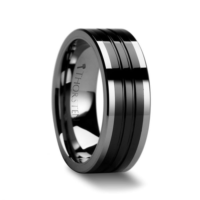 EDINBURGH Tungsten Ring with Flat Grooved Black Ceramic Inlay – 6mm – 10mm