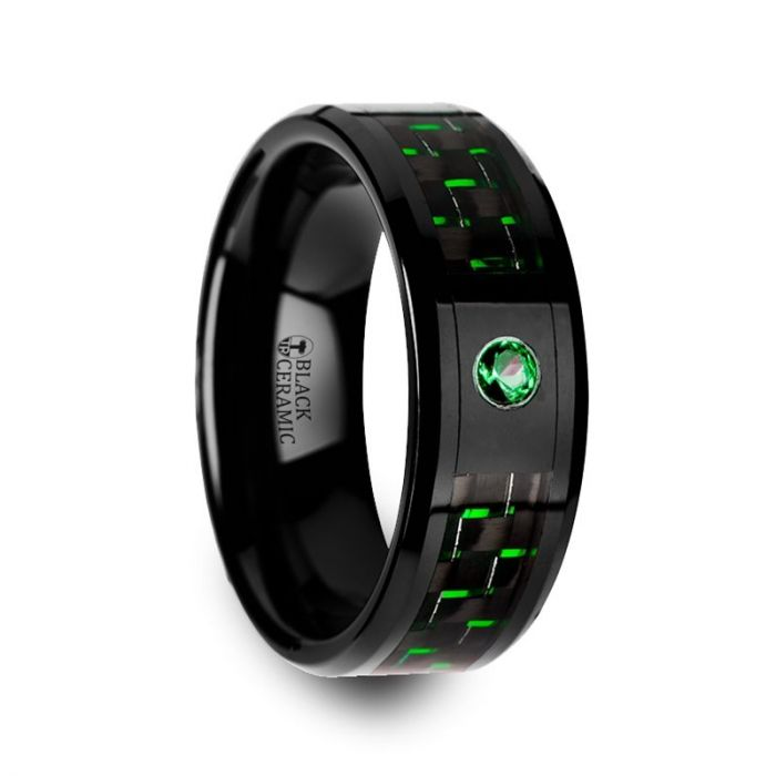 HADAR Black Ceramic Ring with Black and Green Carbon Fiber and Green Emerald Setting – 8mm