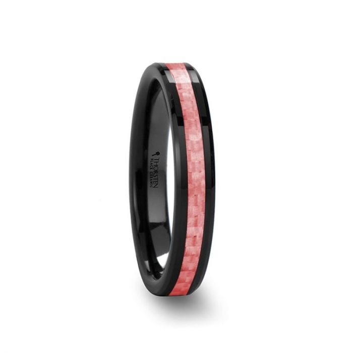 ROSA Women's Beveled Black Ceramic Ring with Pink Carbon Fiber Inlay – 4mm & 6 mm