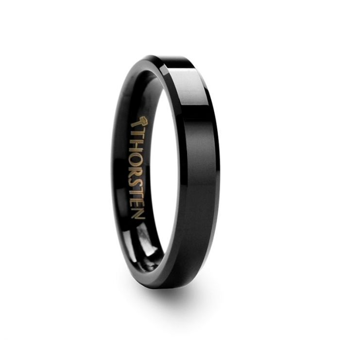 VIENNA Black Tungsten Carbide Ring with Beveled Edges – 4mm & 6mm