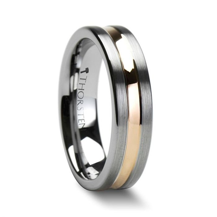 ZENA 4 mm – 6mm Flat Brushed Finish Tungsten Ring with Rose Gold Channel